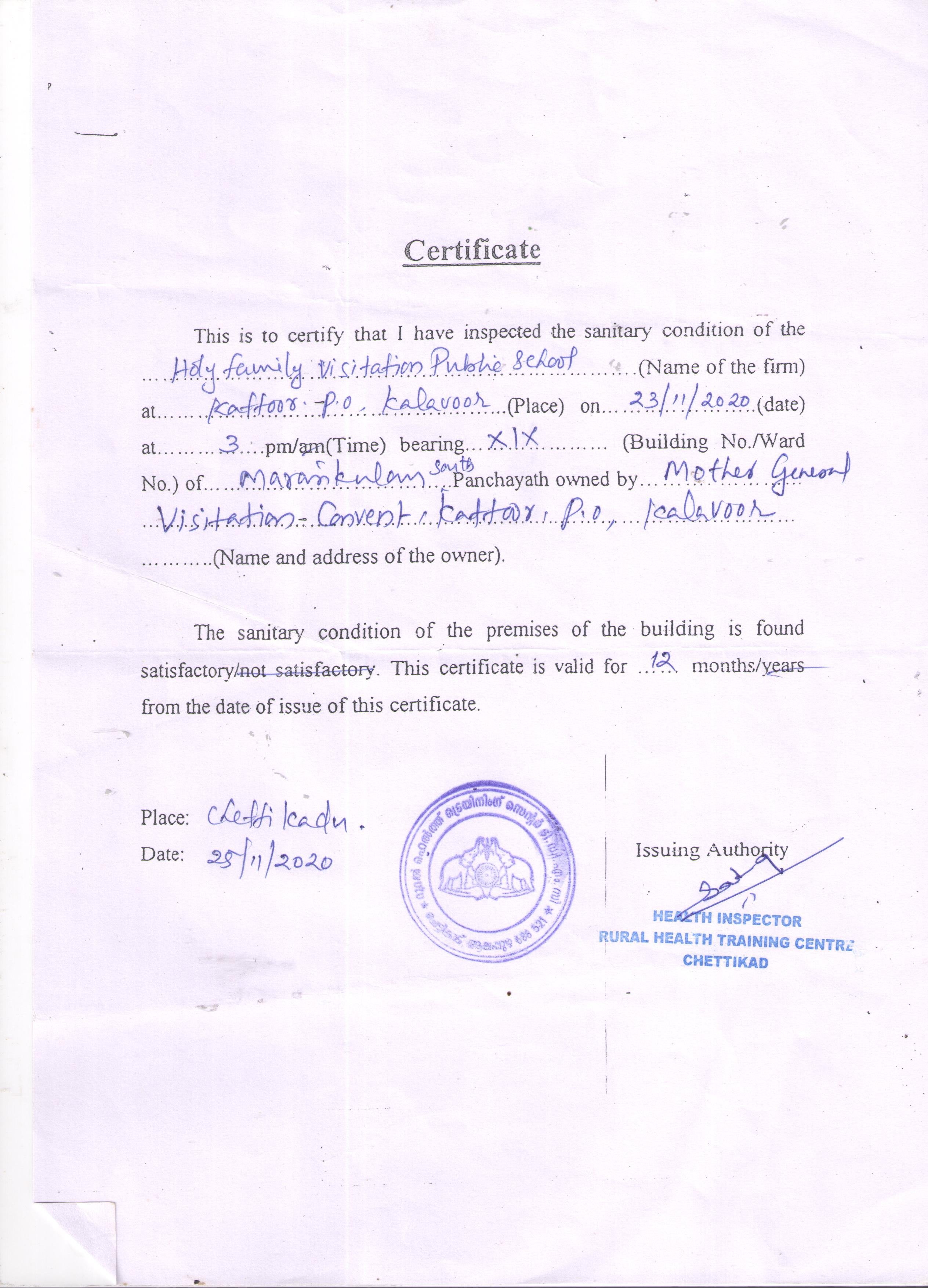 Health and Sanitation Certificate